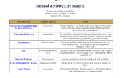 Purchase Curated Activity List