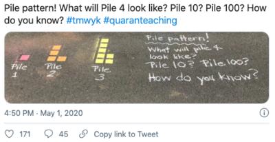 Sidewalk math problem made with chalk